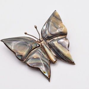 Mexican Abalone butterfly 925 silver earrings